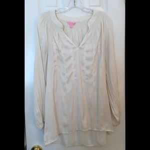 Lilly Pulitzer Ivory embroidery Poets Blouse M